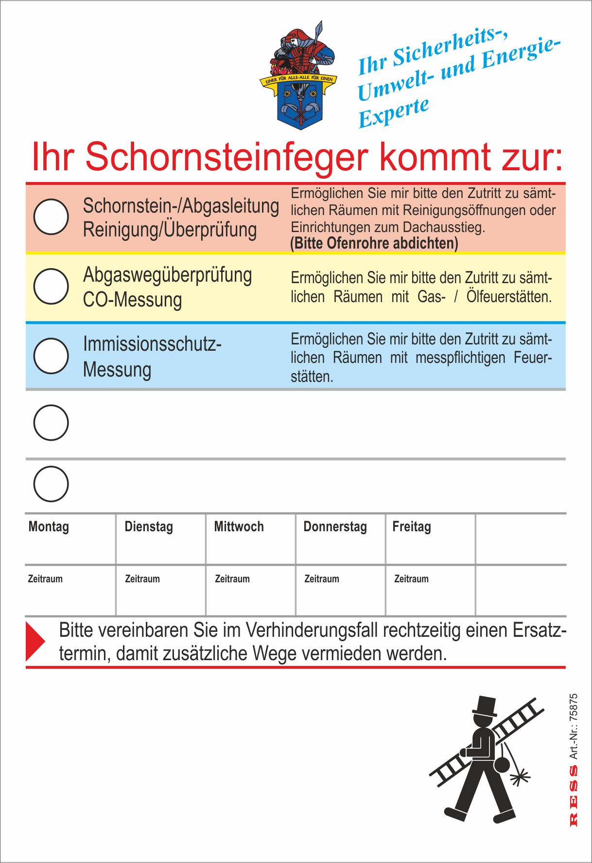 """Anmeldezettel """"Florian"""" DIN A6"""