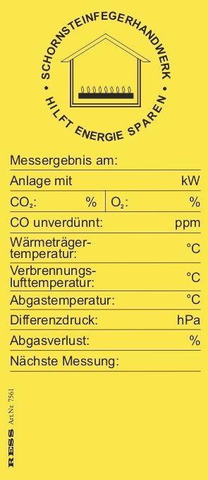 Kesselaufkleber Gas (gelb) - 5er Pack