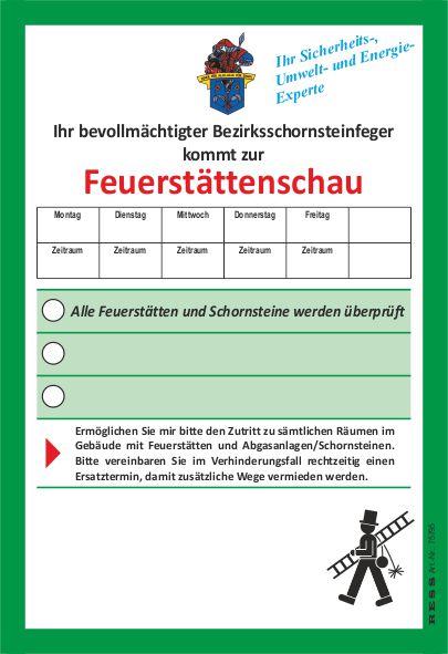 Anmeldezettel Feuerstättenschau mit Florian